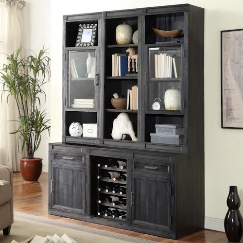 Parker House Hudson Bookcase Cabinet with Wine Rack