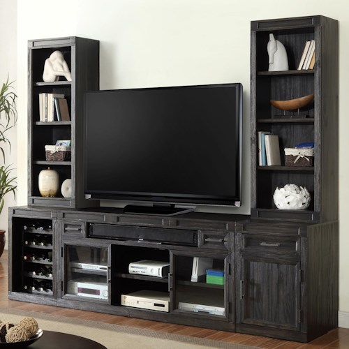 Parker House Hudson 5 Piece TV Console with Bookcase Piers