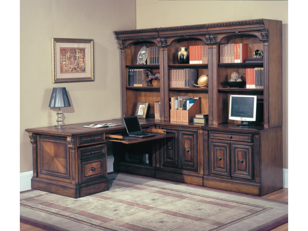 Peninsula Desk Shown with Rolling File, Computer Base, Door Base, File Base, Open Bookcase Top and Glass Bookcase Top