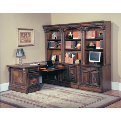 Parker House Huntington 9-Piece Library Wall and Peninsula Desk Corner Office with Rolling File