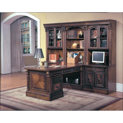Parker House Huntington 9-Piece Library Wall and Peninsula Desk Unit with Rolling File