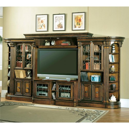 Parker House Huntington Entertainment Center with Glass Door Bookcases