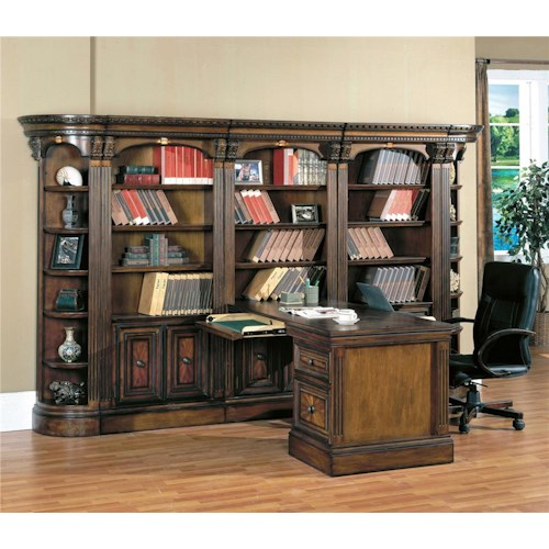 Parker House Huntington Large Bookcase Display Wall with Two-Way Access Peninsula Desk