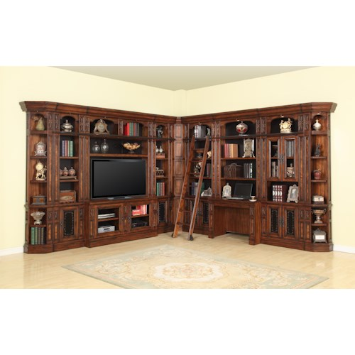 Parker House Leonardo Library Wall with Entertainment Unit and Built-In Desk