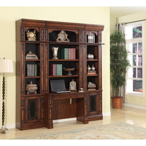 Parker House Leonardo 4 Piece Library Desk and Open Bookcase