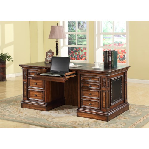 Parker House Leonardo Double Pedestal Executive Desk with 2 File Drawers and Drop Face Pencil Drawer
