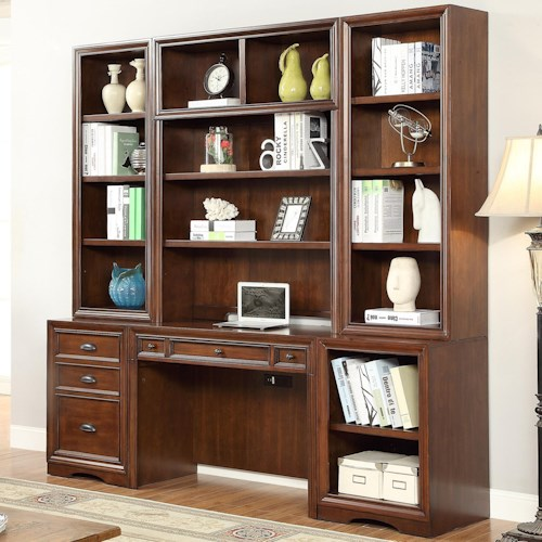 Parker House Napa 6 Piece Home Office Wall with Hutch and File Storage
