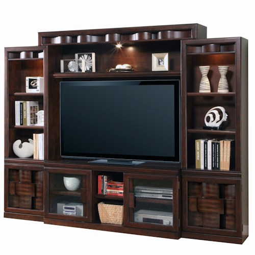 Parker House Oslo 4-Piece Stationary Entertainment Wall with 2-Door Console, 2 Piers and Halogen Lit Display Bridge