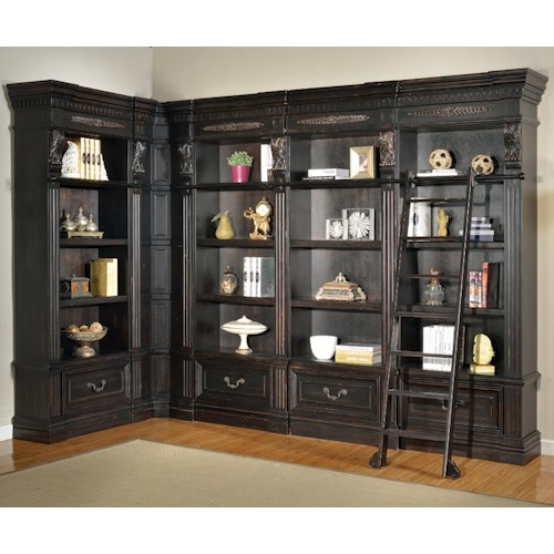 Parker House Palazzo  6 Piece Museum Corner Bookcase Unit with Ladder