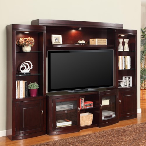 Parker House Premier Biscayne Contemporary Four-Piece Entertainment Wall with Expandable Console