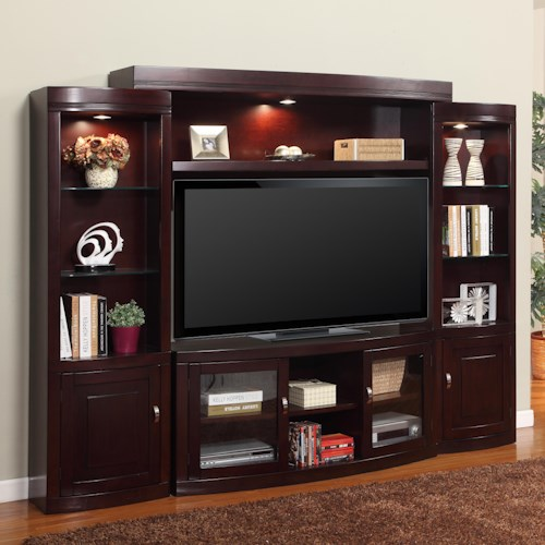 Parker House Premier Biscayne Contemporary Four-Piece Entertainment Wall with 60-Inch Console