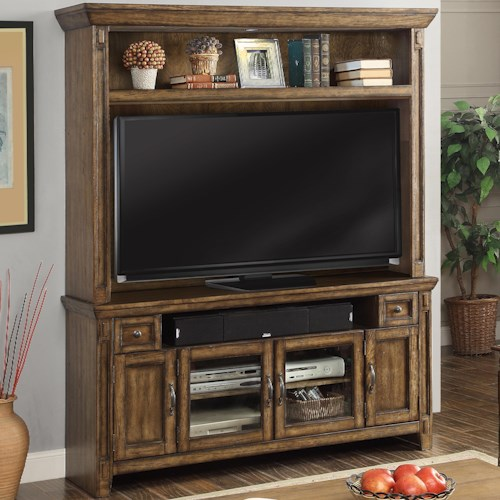 Parker House Riverbend TV Console and Hutch with 4 Doors, 2 Drawers, and 2 Shelves