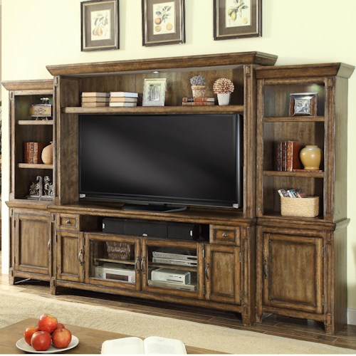Parker House Riverbend Wall Unit with 6 Doors, 8 Shelves, and 2 Drawers
