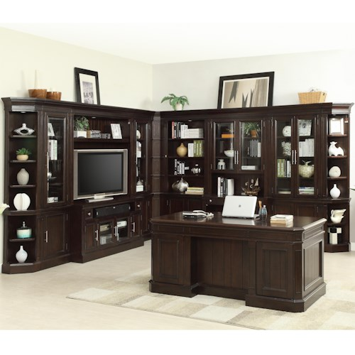 Parker House Stanford Wall Unit with Executive Desk and TV Console