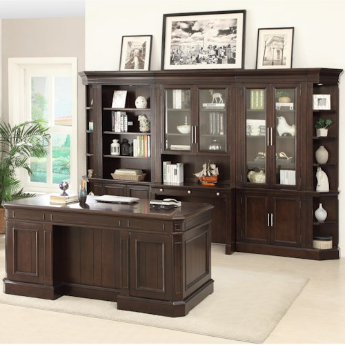 Parker House Stanford Wall Unit with Executive Desk and Built in Desk