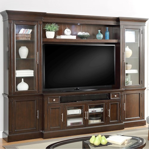 Parker House Stanford 4 Piece Entertainment Wall with Book Shelves and Glass Doors