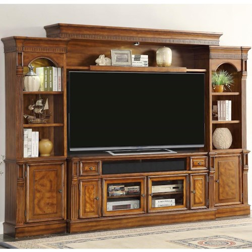 Parker House Toscano Entertainment Unit with 8 Shelves, 6 Doors, and 2 Drawers
