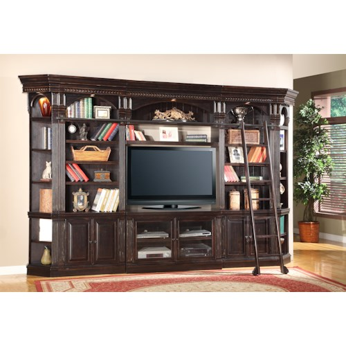 Parker House Venezia Six-Piece Entertainment Library Wall Group with 50-Inch Console and Ladder