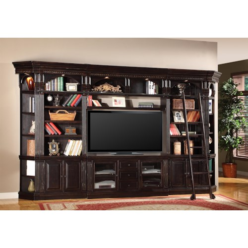 Parker House Venezia Six-Piece Entertainment Library Wall Group with 60-Inch Console and Ladder