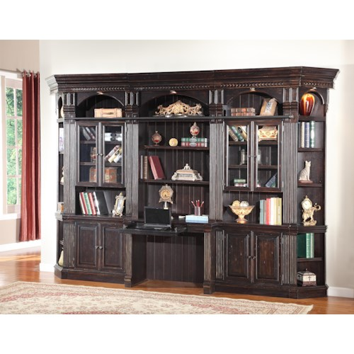 Parker House Venezia Six-Piece Library Wall with Built-in Desk