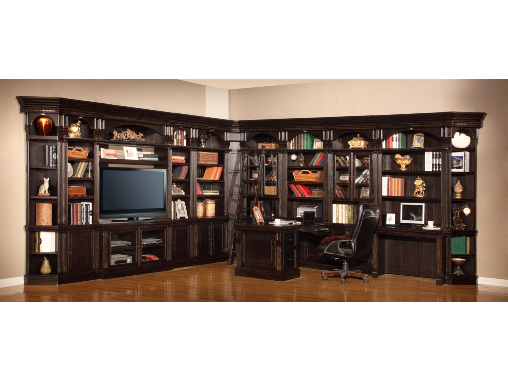 Shown with Library Ladder, 32-Inch Glass Cabinet Bookcases, 32-Inch Bookcases, 22-Inch Bookcases, TV Console with Bridge, Peninsula Desk Top & Panel Pedestal, Peninsula Under Desk File Cabinet, Inside Corner Unit and Outside Corner Units