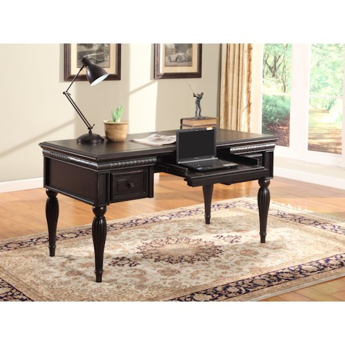 Parker House Venezia Writing Desk with Roll-Out Keyboard Drawer and Fluted Legs