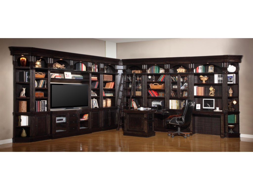 Shown with 32-Inch Bookcases, 22-Inch Bookcases, 32-Inch Glass Door Cabinet Bookcases, TV Console and Bridge, Inside Corner Unit, Outside Corner Units, 2-Piece Library Desk, Peninsula Desk & File