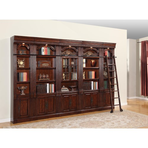Parker House Wellington 6 Piece Library Bookcase Inset Wall with Ladder