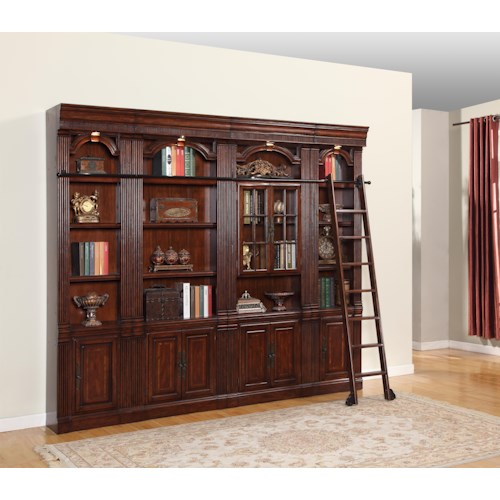 Parker House Wellington 4 Piece Library Bookcase Inset Wall with Ladder