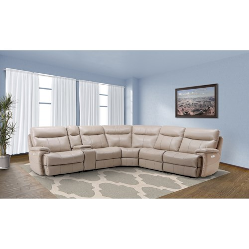 Parker Living Dylan Casual Reclining Sectional Sofa with Storage Console