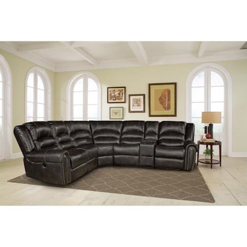 Parker Living Gershwin Transitional Sectional Sofa with Power Reclining Arm Sections