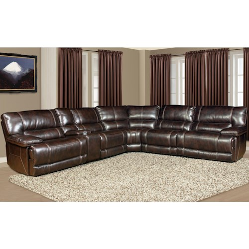 Parker Living Pegasus 5 Seater Power Reclining Sectional Sofa with Cup Holder Console and Large Pillow Arms