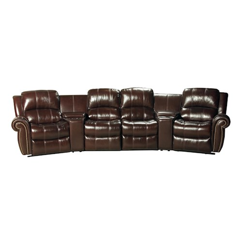 Parker Living Poseidon Transitional 6 Piece Power Reclining Sectional Sofa with 2 Theater Consoles