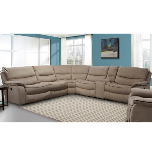 Parker Living Remus Casual Power Sectional Recliner with Storage Console and Pillow Top Arms