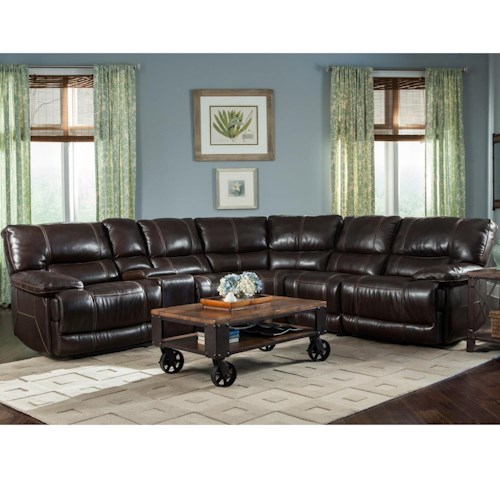 Parker Living Socrates Casual Sectional with Storage Console and Pillow Top Arms