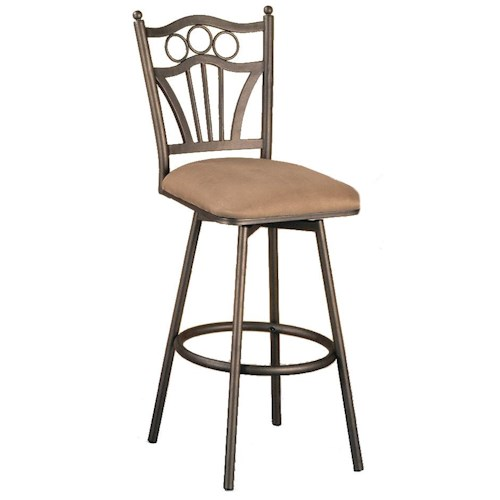 Pastel Minson Barstool Collection Bar Stool with Upholstered Seat and Decorative Back