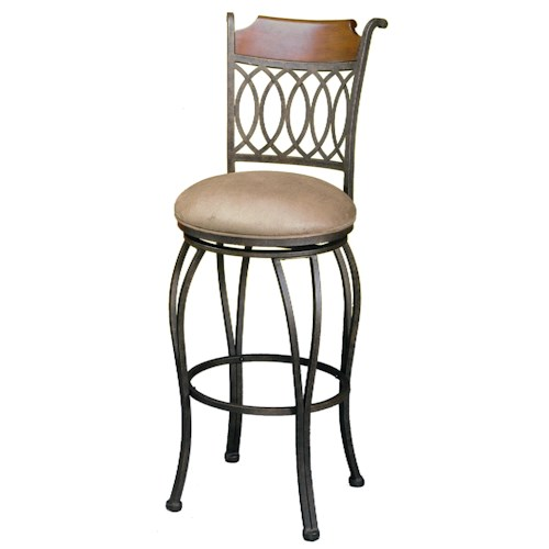 Pastel Minson Barstool Collection Bar Stool with Upholstered Seat and Wood Detail on Back