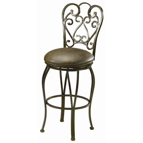 Pastel Minson Barstool Collection Bar Stool with Upholstered Seat and Decorative Seat Back