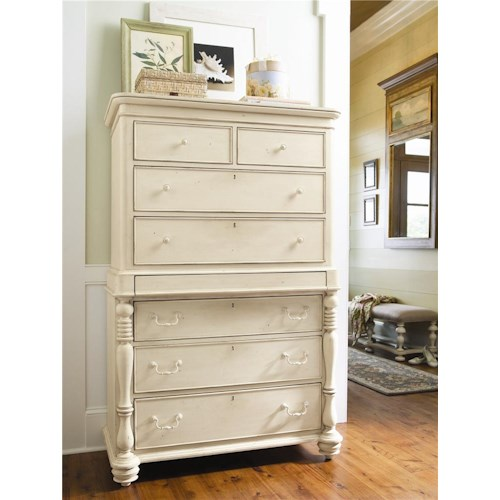 Morris Home Furnishings Pinehurst Tall Chest with 7 Drawers and Semi-Hidden Jewelry Tray Drawer