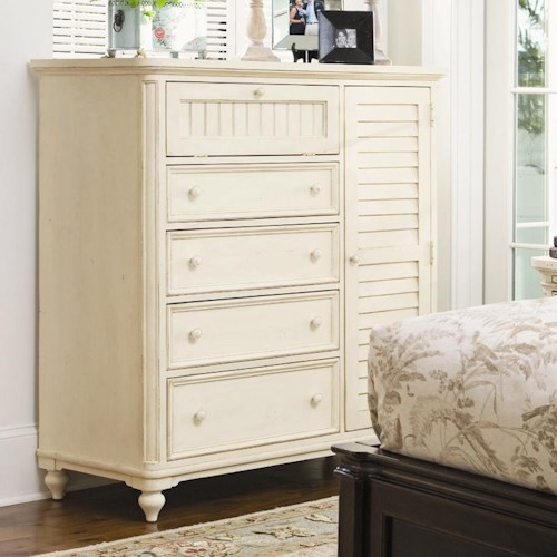 Morris Home Furnishings Pinehurst Door Chest with Louvered Door and Clothing Rod