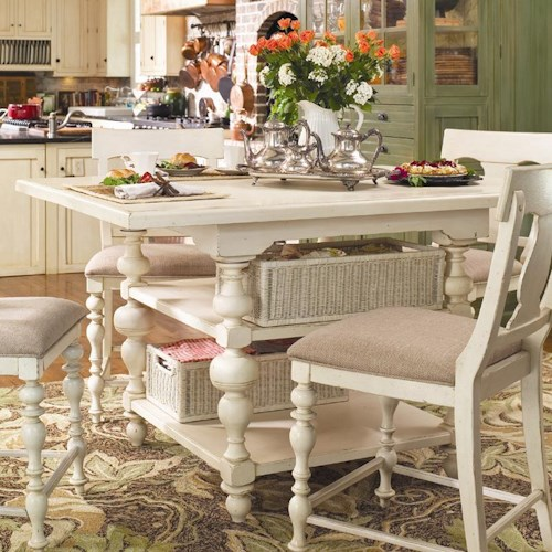 Universal Home Counter Height Kitchen Gathering Table with Storage Baskets
