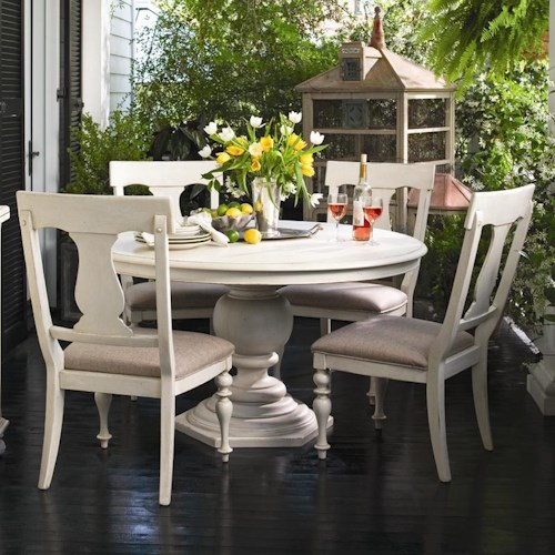 Universal Home Round Dining Table w/ 4 Splat Back Dining Side Chairs