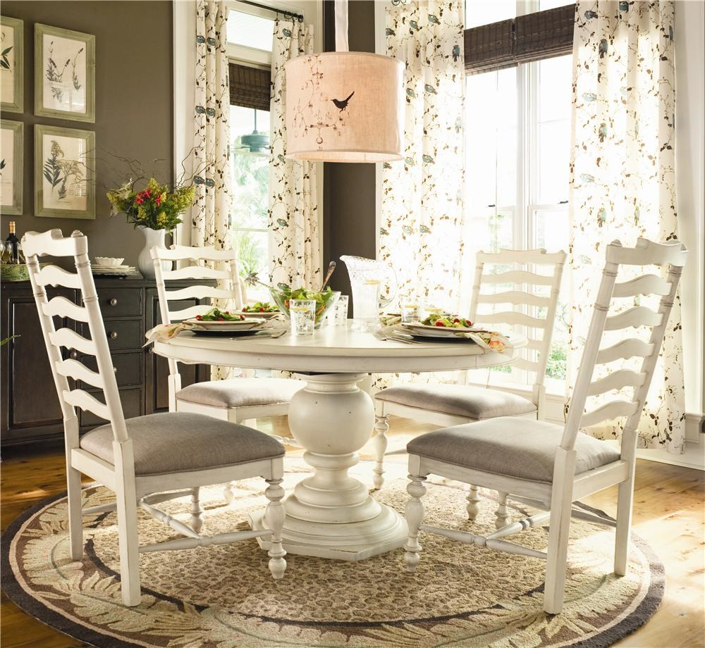 Universal Home Round Dining Table w/ 4 Ladder Side Chairs