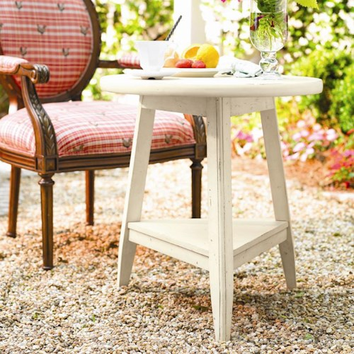 Paula Deen by Universal Paula Deen Home Round Tripod Lamp Table with 1 Shelf