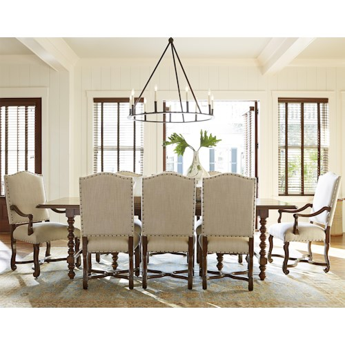 Morris Home Furnishings Darling 9 Piece Dining Set with Upholstered Chairs