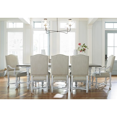 Universal Dogwood 9 Piece Dining Set with Upholstered Chairs
