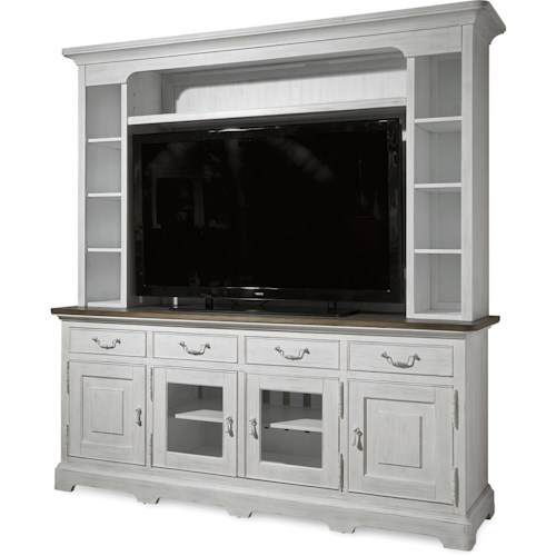Universal Dogwood Console with Deck and Interchangeable Doors Panel Inserts