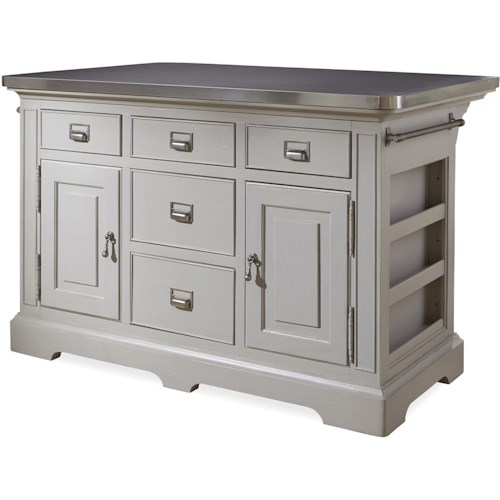 Morris Home Furnishings Darling The Kitchen Island with Stainless Wrapped Metal Top