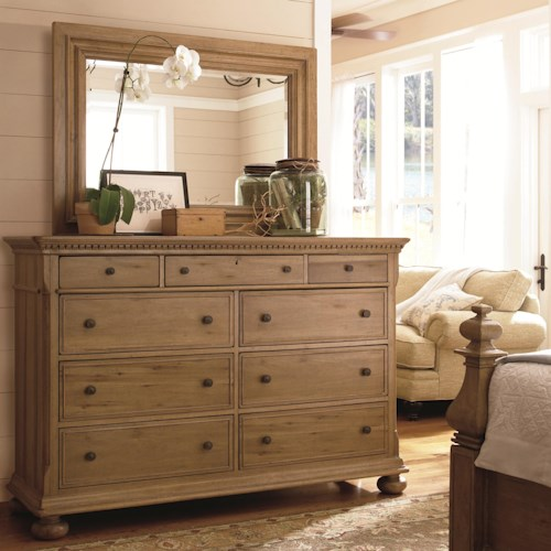 Morris Home Furnishings Pineridge Aunt Peggy's Dresser and Landscape Mirror
