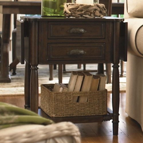Paula Deen by Universal Down Home Drop Leaf End Table with 2 Drawers